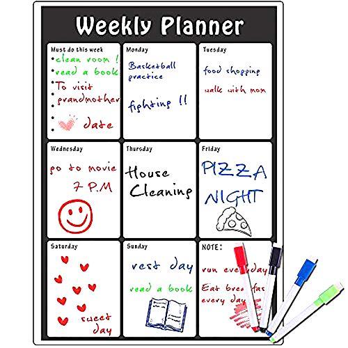 Magnetisches Whiteboard Magnettafel Schreibtafel 42 x 30 cm,Tocken Abwischbar,Wiederbeschreibba,Monatlicher,Kühlschrank Kalender Wochen-Planer