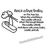 haochenli188 Rock A Bye Baby Pegatinas de Pared Cita Canciones de Cuna Infantiles Cuarto de guardería No tóxico PVC Texto Etiqueta de la Pared Extraíble Calcomanías de Arte 4 30x55cm