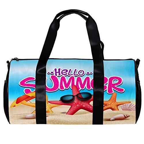 Bolsa de deporte redonda con correa de hombro desmontable para verano, playa, estrellas de mar, bolsa de entrenamiento para mujeres y hombres