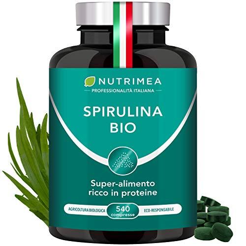 Nutrimea Spirulina BIO | 540 Compresse Con Proteine Vegetali | Alga Naturale | Fonte di Energia | Resistenza | Sistema Immunitario Potenziato