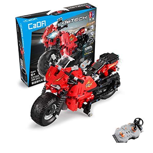 Technic Juego De Construcción De Motocicletas, RC Racing Juego De Construcción De Motocicletas con Motores, 484 Piezas De Bloques Compatibles con Lego, El Modelo De Construcción No Es Creado por Lego
