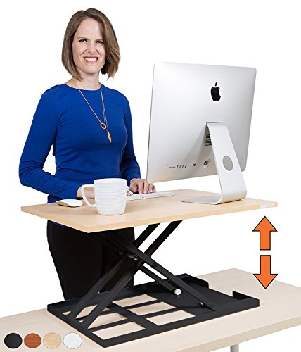Standing Desk X-Elite - Stand Steady Standing Desk | X-Elite Pro Version, Instantly Convert Any Desk into a Sit/Stand up Desk, Height-Adjustable, Fully Assembled Desk Converter (Maple) (28 inch)