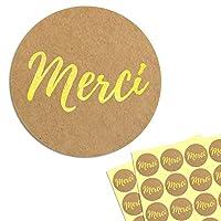 Diamètre: 4 cm. Impression d'or sur papier kraft. Auto-adhésif. Se colle bien sur le papier, le bois, le plastique et la plupart des surfaces planes. Enveloppes de sceau, cartes de décoration, cadeaux d'étiquette. Parfait pour les mariages, anniversa...