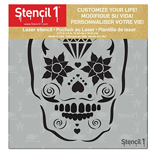 "Sugar Skull Stencil 5.75"" x 6"""