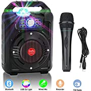 Verkstar Portable Karaoke Machine, PA System Speaker Wireless Bluetooth Rechargeable Speaker Toys for Kids & Adults Party With Disco Ball, Wired Microphone