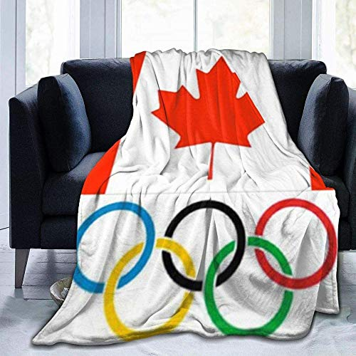 XZHYMJ Manta de Franela Bandera de Canadá Logotipo de Olympia Manta de...