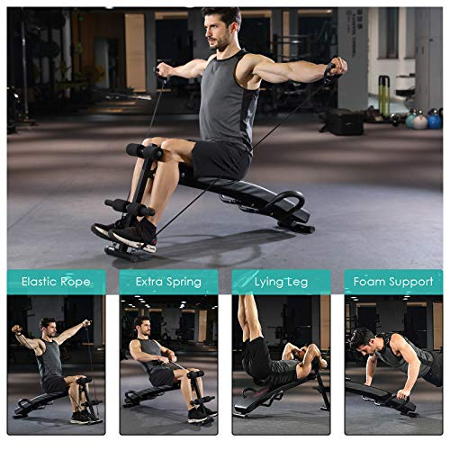 OKVAC Multi-Functional Sit Up Bench, Decline Press Bench, Foldable Slant Bench,W/4 Adjustable Height, Handlebar, Spring, Elastic Rope,for Home Gym Abdominal Fitness Exercises Workout, Max Load 450LBS