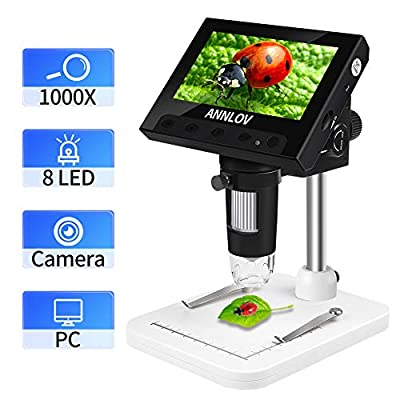 LCD Digital Microscope, ANNLOV 4.3 inch USB Microscope 50X-1000X Magnification Handheld Electronic Coin Microscope Video Camera with 8 Adjustable LED Lights for Adults PCB Soldering Kids Outside Use
