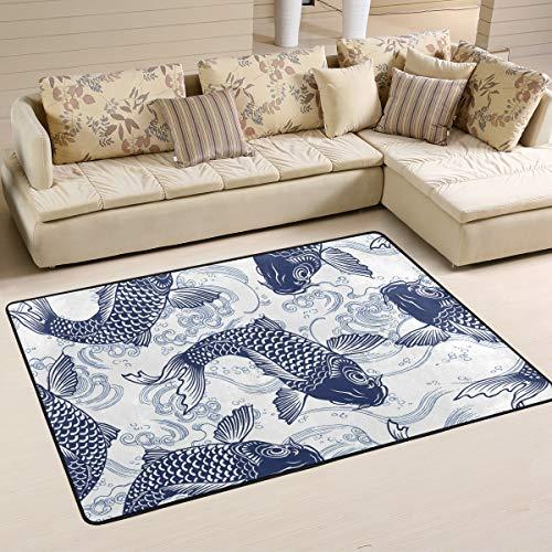 Rootti - Alfombra antideslizante con patrón de peces, para sala de estar, comedor, dormitorio, cocina, pasillo, tamaño pequeño, 160 cm x 120 cm