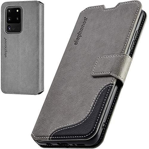 elephones Handyhülle für Samsung Galaxy S20 Ultra Hülle mit TÜV geprüftem RFID-Schutz aus Premium PU Leder Flip-Hülle Handy-Tasche Schutz-Hülle Kompatibel mit Samsung Galaxy S20 Ultra 5G Grau
