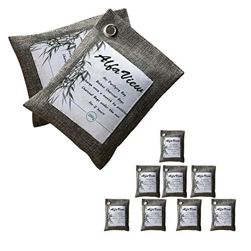 Bolsa Purificadora de Aire, AlfaView Naturalmente Ambientador de Bambú y Carbón Desodorizarte de Calzado y Eliminador de Olores Absorbente para Automóviles y Armarios y 100% sin Olor Químico