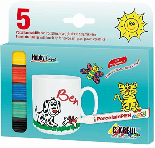 Kreul 16300 - Hobby Line Porzellanmaler 160 °C mit Pinselspitze 5er Set, in gelb, rot, blau, grün und schwarz, zum Bemalen von Porzellan, Keramik, Metall, Glas, nach Einbrennen spülmaschinengeeignet