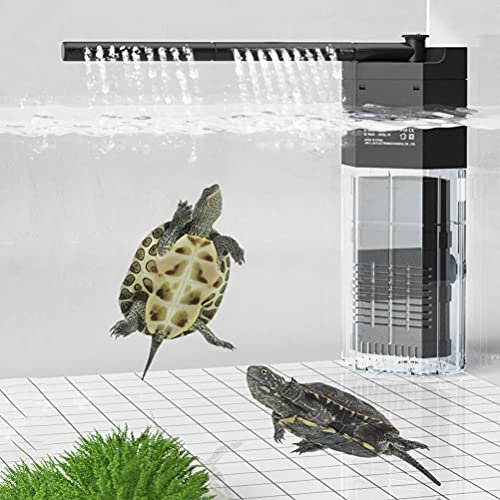 XEOGUIYA Aquarium Internal Filter, Adjustable Quiet Aquarium Fish Tank Filter, 3 in1 Multifunctional Submersible Aquarium Filter with Rain Arm for Fish or Low Level Turtle Tank, 1-40 Gallon (180L/H)