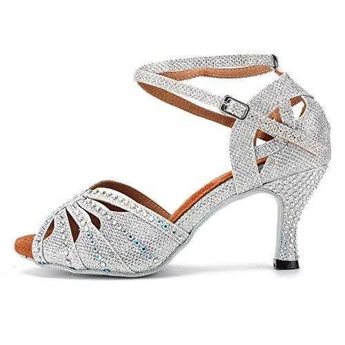 HIPPOSEUS Zapatos de Baile para Mujer con pedrería/Zapatos de Rendimiento de Entrenamiento...