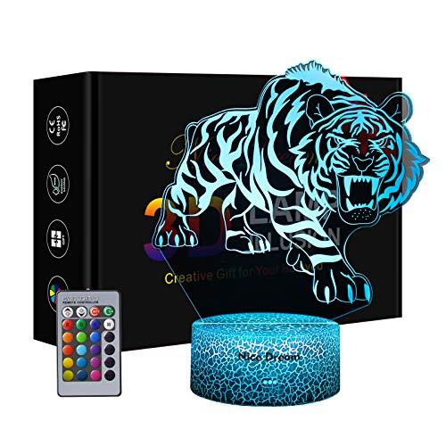 Tiger 3D Nachtlicht für Jungen, 3D Optische Täuschungs lampe, Dimmbare 3D Nachtlicht mit 16 Farben Ändern und Fernbedienung, Geburtstags und Weihnachtsgeschenke für Kinder, Tiger Geschenk(Tiger)