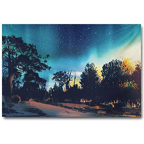 Fantasy Star Poster Enchanted Night with Stars and Aurora Borealis in Sky Above Mystic Fantastic Road Christmas Decorations Multicolor L30 x H60 Inch