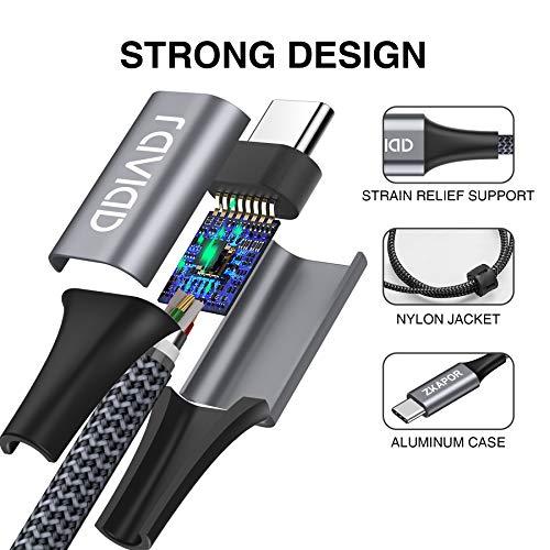 USB Typ C Kabel, RAVIAD [4Pack 0.5M 1M 2M 3M] Nylon Typ C Ladekabel und Datenkabel USB C Schnellladekabel für Samsung Galaxy S10/S9/S8+, Huawei P30/P20, Google Pixel, Sony Xperia XZ, OnePlus 6T (Grau) - 5