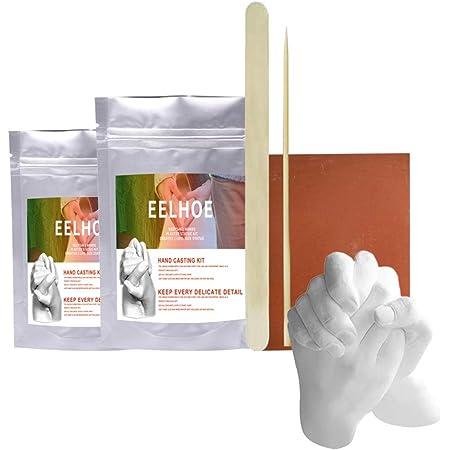 TiSkying Kit de Moulage Keepsake Hands, Kit de Moulage à la Main de Poudre de Moule dimpression de Pied de Main Kit de Moulage de Statue en plâtre Bricolage Main Tenant Artisanat pour Couples Adulte