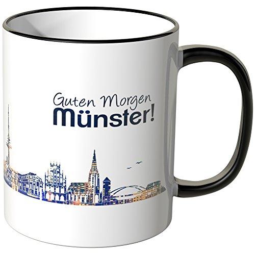 WANDKINGS® Tasse, Schriftzug Guten Morgen Münster! mit Skyline bei Nacht - SCHWARZ
