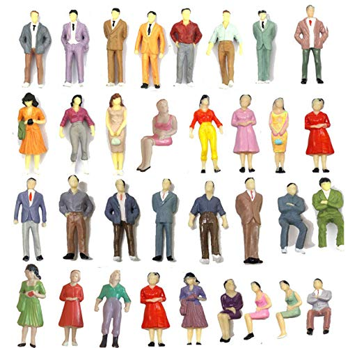 50 PCS People Figures, Kinear Model Trains Architectural 1:50 Scale Hand Painted Figures O Scale Seated and Standing Tiny People for Miniature Scenes Model Railway Trains Garden Railroad