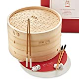 Gray Oval - 10 inch Bamboo Steamer Basket 2-Tier (2 Pairs of Chopsticks & 2 Holders, 50 Paper Liners) - Bamboo Dumpling Steamer Basket, Steam Basket for Cooking, Bao Bun Steamer