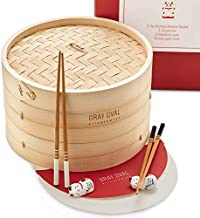 Gray Oval - Bamboo Steamer Basket 10 inch 2-Tier (2 Pairs of Chopsticks & 2 Holders, 50 Paper Liners) - Steam Basket for Cooking Asian Food, Dim Sum, Chinese Dumpling, Bao Bun, Rice & Vegetables