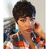 Short Human Hair Wigs for Black Women Curly Pixie Cut Hair Wigs with Bangs Short Black Wigs for Women