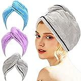 AmazerBath 3-Pack Hair Towel, Microfiber Hair Towel Wrap Rapid Drying Hair Towels for Women, Magic Hair Drying Towel,...