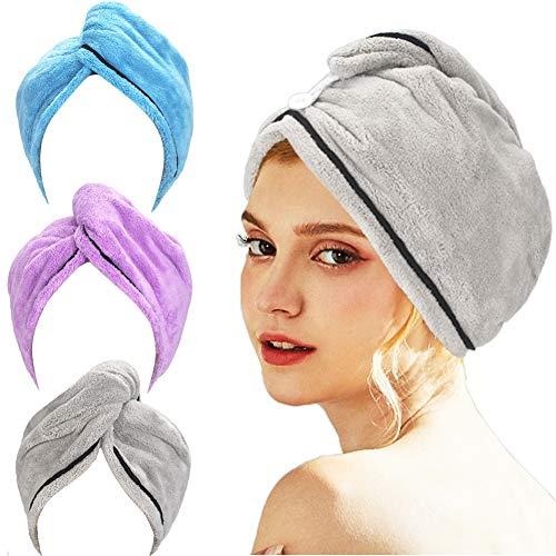 AmazerBath 3-Pack Hair Towel, Microfiber Hair Towel Wrap Rapid Drying Hair Towels for Women, Magic Hair Drying Towel, Super Absorbent Hair Towel Hat (Blue, Purple, Gray)