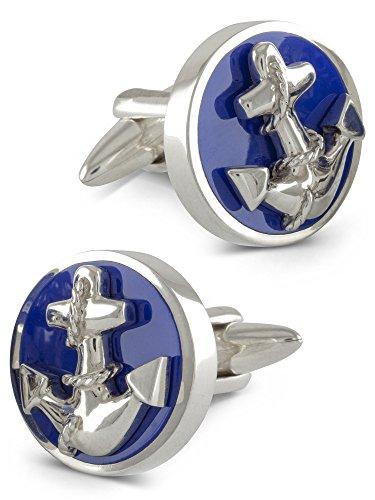 ZAUNICK Anker Manschettenknöpfe Silber 925 handgefertigt, blau