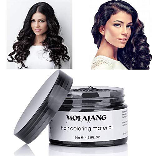 MOFAJANG Black Hair Color Dye Wax 4.23 oz, Instant Hair Wax, Disposable Natural Hairstyle Cream Mud, Hair Pomades, Hair Styling Clays for Men and Women Party Festival Cosplay Halloween