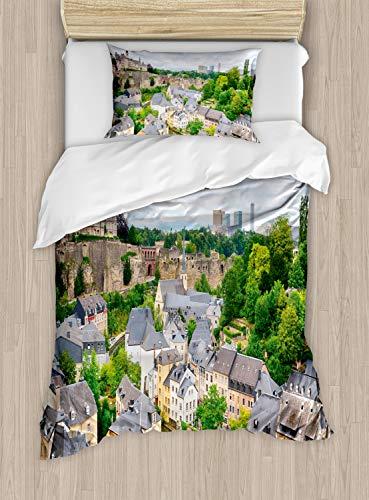 ABAKUHAUS Landschap Dekbedovertrekset, Oude Stad Luxemburg, Decoratieve 2-delige Bedset met 1 siersloop, 130 cm x 200 cm, Veelkleurig