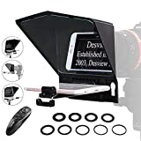 Desview T2 Teleprompter for Canon Nikon Sony Camera Photo Studio DSLR Mirrorless Camera Tablet Smartphone with Remote Control and Lens Adapter Ring for Recording Vlog YouTube Interview