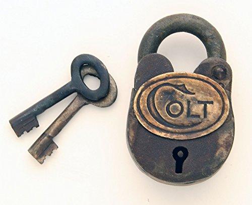 Metal Old West Colt Padlock with Keys