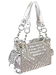 Gem Studded Rhinestone Concealed and Carry Silver Purse