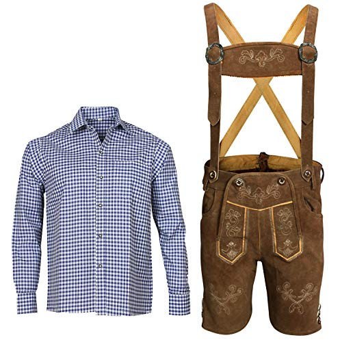 Herren Trachten Set Lederhose mit Trägern + Trachten Hemd Bayerische Oktoberfest (Hose + Hemd) BKB02 (Lederhose 52 + Hemd XL)