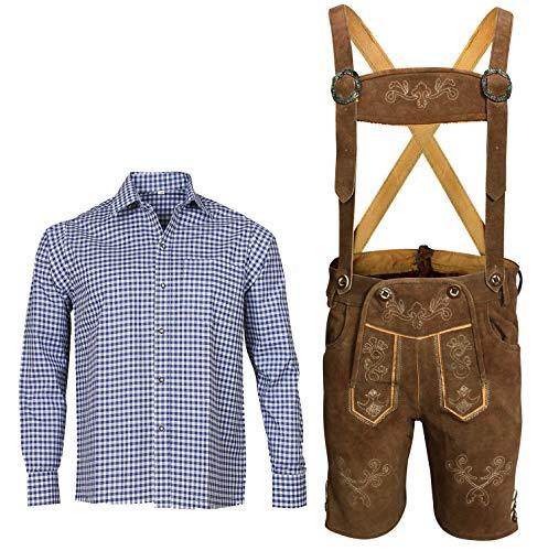 Herren Trachten Set Lederhose mit Trägern + Trachten Hemd Bayerische Oktoberfest (Hose + Hemd) BKB02 (Lederhose 52 + Hemd L)