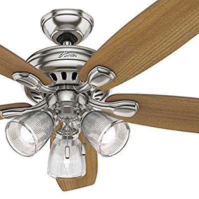 Hunter Fan 52 inch Brushed Nickel Ceiling Fan with Light and LED Bulbs (Certified Refurbished)