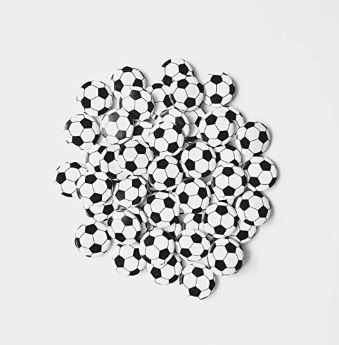 Pregiata decorazione per palloni da calcio in legno con effetto 3D, stampa su un lato, ideale come decorazione, decorazione in legno, decorazione da tavolo, accessori fai da te, 50 pezzi
