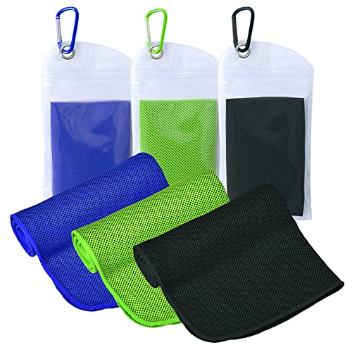 """ICECUUL Extra Large Neck Cooling Towel 3 Packs (47""""x12"""") Microfiber Towel for Instant Cooling Relief, Cool Cold Ice Towel for Yoga Golf Travel Gym Sport Camping Running & Outdoor Sports(120X30cm)"""
