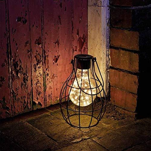 Garden Mile Large Firefly Lantern Garden Outdoor Lighting Solar Powered Light Table Top Lamp Decking Patio Vintage Retro Look