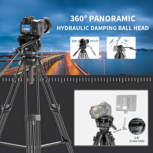 Andoer Video Tripod 71 inch Professional Heavy Duty Aluminum Tripod with Quick Release Plate and Fluid Drag Pan Tilt Max Load 17.6lb 180cm for DSLR Camcorder