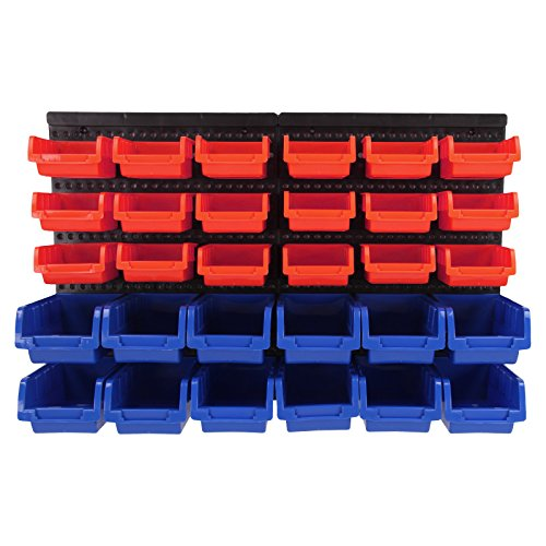AllRight 30 PCS Plastic Storage Bins Kit With Stackable Boxes Wall Mounted Garage Organiser Shelving Unit