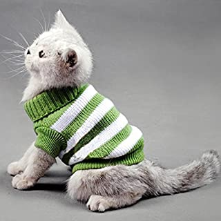 Evursua Striped Cat Sweaters Kitty Sweater for Cats Knitwear,Small Dogs Kitten Clothes Male and Female,High Stretch,Soft,Warm
