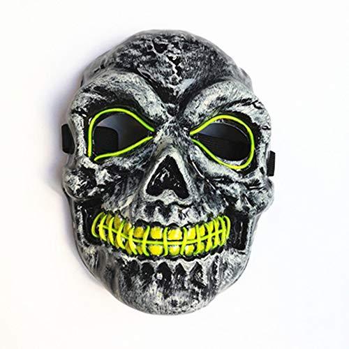 Cranio teschio EL bagliore maschera Halloween Carnevale Notte Masquerade Fantasma Danza Decorazione Puntelli Maschera luminosa a LED Verde fluorescente