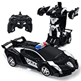 Electric Police Car One Button Transformation Robot Deformation Car Model Toy 360 Speed Drifting 1:18 Scale with Lights and Sounds Best Birthday and Xmas Gift Deformation Toys for Kid (Black)
