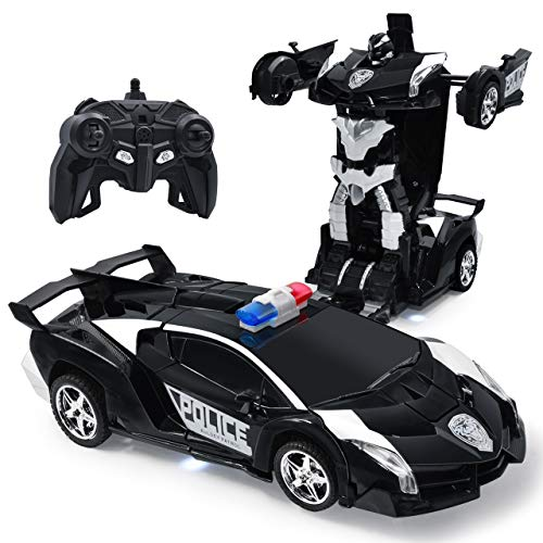 Zosam Electric Police Car One Button Transformation Robot Deformation Car Model Toy 360 Speed Drifting 1:18 Scale with Lights and Sounds Best Birthday and Xmas Gift Deformation Toys for Kid (Black)