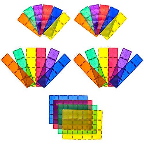 PicassoTiles 28 Piece 12'x9', 12'x3', 9'x3' Large Stabilizer Building Block Base 28pc Jumbo XL Plate Foundation Kit Magnetic Building Blocks Magnet Tiles Educational Construction Stacking STEM Toy Set