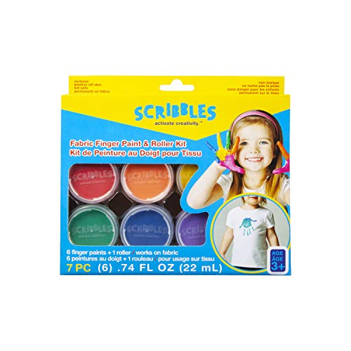 Scribbles Finger Paint amp Roller Kit Kid Safe Permanent Fabric Paint Washes Off Skin 6 Colors