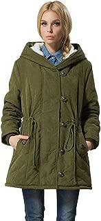 PPkloth Plus Size Ladies Coat Solid Color Waist Hooded Long Coat Winter Warm Jacket